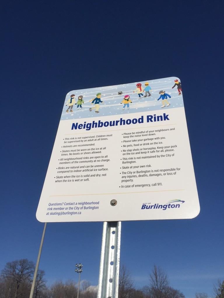 Neighbourhood Rink Sign at Burlington