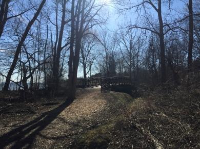 Iron Bridge over creek, Paletta Lakefront Park