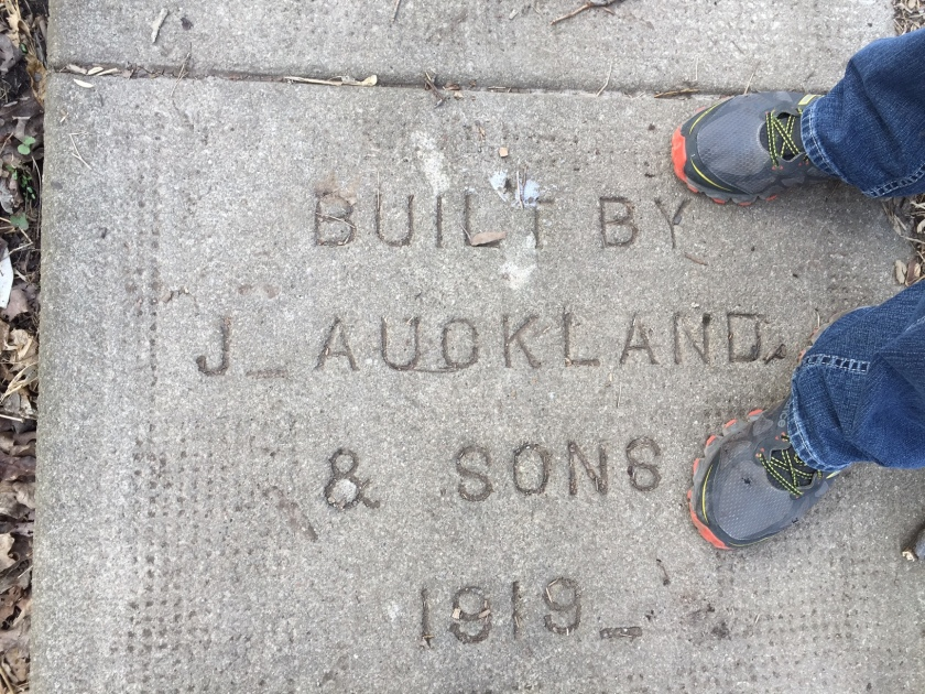 J Auckland & Sons concrete at the top of Lowville Staircase